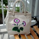 Painted Tote Bag wih Purple and White Flowers