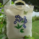 Tote Bag with Blue Flowers and Green Butterfly Charm