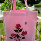 Pink Tote With Painted Red Roses