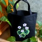 Black Tote Bag with Painted Violets