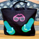 Large Black Tote With Painted Flip Flops and Sunglasses
