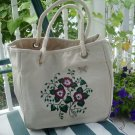 Natural Tote Bag With Painted Red Flowers