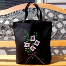 Black Tote Bag With Flowers and Ribbon