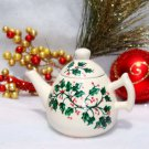 Holiday Teapot Ornament With Holly
