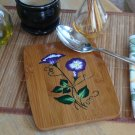 Bamboo Trivet with Purple and White Flowers