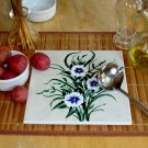 Tile Trivet With Blue Flowers