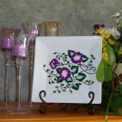 Square Decorative Plate with Painted Flowers