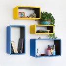 TRI-WS002-REC [Yellow & Blue] Rectangle Leather Wall Shelf / Bookshelf / Floating Shelf (Set of 4)