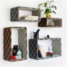 TRI-WS004-REC [Gold & Gray Plaid] Rectangle Leather Wall Shelf / Bookshelf / Floating Shelf (Set of