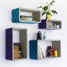 TRI-WS005-REC [Purple & Blue Plaid] Rectangle Leather Wall Shelf / Bookshelf / Floating Shelf (Set o