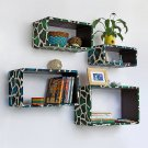 TRI-WS012-REC [Blue Green Giraffe] Rectangle Leather Wall Shelf / Bookshelf / Floating Shelf (Set of