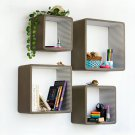TRI-WS017-SQU [Tan & LightGrey Strip] Square Leather Wall Shelf / Bookshelf / Floating Shelf (Set of