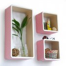 TRI-WS139-REC [Peach & White Stripe] Rectangle Leather Wall Shelf / Bookshelf / Floating Shelf (Set