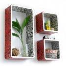 TRI-WS140-REC [Vivid Zebra Stripe] Rectangle Leather Wall Shelf / Bookshelf / Floating Shelf (Set of
