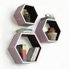 TRI-WS146-HEX [Love of Purple] Hexagon Leather Wall Shelf / Bookshelf / Floating Shelf (Set of 3)