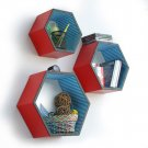 TRI-WS150-HEX [Summer Fairy] Hexagon Leather Wall Shelf / Bookshelf / Floating Shelf (Set of 3)
