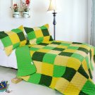 ONITIVA-QTS01012-23[Energetic] Cotton 3PC  Patchwork Quilt Set (Full/Queen Size)
