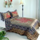 ONITIVA-QTS01017-23[Auspicious Windmill] Cotton 3PC Foral  Patchwork Quilt Set (Full/Queen Size)