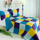 ONITIVA-QTS01031-23[Rhapsody] Cotton 3PC  Patchwork Quilt Set (Full/Queen Size)
