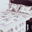QTS-QR15-23[Rowena] 100% Cotton 3PC Floral Vermicelli-Quilted Patchwork Quilt Set (Full/Queen Size)