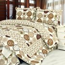 QTS-SJ817-23[Ramya] 100% Cotton 3PC Floral Vermicelli-Quilted Patchwork Quilt Set (Full/Queen Size)