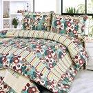 QTS-SJ807-23[Dianthe] 100% Cotton 3PC Floral Vermicelli-Quilted Patchwork Quilt Set (Full/Queen Size