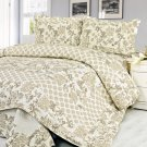 QTS-SJ812-23[Feronia] 100% Cotton 3PC Floral Vermicelli-Quilted Patchwork Quilt Set (Full/Queen Size