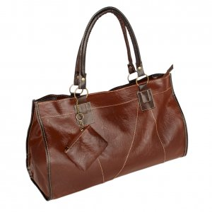 FB-XXK166-TAN[Generous Casual] Tan Double Handle Leatherette Satchel Hobo Handbag w/Shoulder Strap