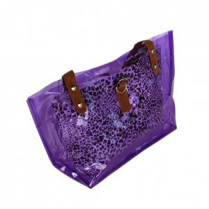 FB-ZL618-PURPLE[Lucky Purple] Leopard Double Handle Leatherette Satchel Bag Handbag Casual Styling