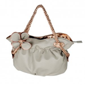FB-WS358-GRAY[Refined Princess] Grey Flower Double Handle Leatherette Satchel Bag Handbag Styling