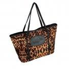 FB-DZ29-COFFEE[Taste Coffee] Leopard Double Handle Leatherette Satchel Bag Handbag Tote Bag Styling