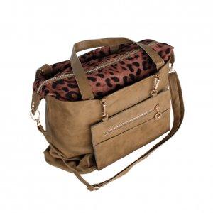 FB-DZ003-KHAKI[Variety Style Charm] Leopard Double Handle Satchel Hobo Handbag w/Shoulder Strap
