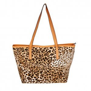 FB-ZY171-COFFEE[Wonderful Time] Leopard Double Handle Leatherette Satchel Bag Handbag Shoulder Bag