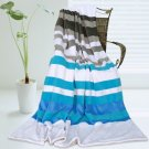 ONITIVA-BLK-019 [Stripes - Blue Fairy] Soft Coral Fleece Patchwork Throw Blanket (59 by 78.7 inches)