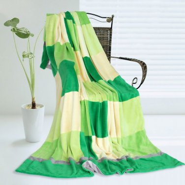 ONITIVA-BLK-022 [Plaids - Green Day] Soft Coral Fleece Patchwork Throw Blanket (59 by 78.7 inches)