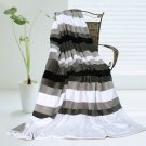 ONITIVA-BLK-023 [Stripes - Simplicity] Soft Coral Fleece Patchwork Throw Blanket (59 by 78.7 inches)