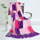 ONITIVA-BLK-024 [Plaids - Purple & Pink] Soft Coral Fleece Patchwork Throw Blanket (59 by 78.7 inche