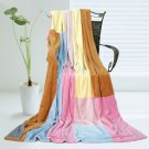 ONITIVA-BLK-061 [Spring Breeze] Soft Coral Fleece Patchwork Throw Blanket (59 by 78.7 inches)