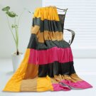 ONITIVA-BLK-074 [Sweet Life] Soft Coral Fleece Patchwork Throw Blanket (59 by 78.7 inches)