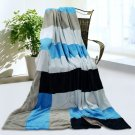 ONITIVA-BLK-075 [Love is blue] Soft Coral Fleece Patchwork Throw Blanket (59 by 78.7 inches)