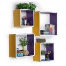 TRI-WS166-SQU [Young Girls] Square Leather Wall Shelf / Bookshelf / Floating Shelf (Set of 4)