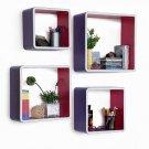 TRI-WS169-SQU [Grapeplantation] Rectangle Leather Wall Shelf / Bookshelf / Floating Shelf (Set of 4)