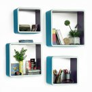 TRI-WS170-SQU [My Blue Paradise] Rectangle Leather Wall Shelf / Bookshelf / Floating Shelf (Set of 4