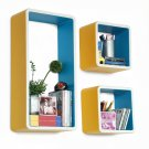 TRI-WS178-REC [Crayon] Rectangle Leather Wall Shelf / Bookshelf / Floating Shelf (Set of 3