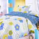 HM01005-2 [Blue Green Flowers] 100% Cotton 4PC Comforter Cover/Duvet Cover Combo (Full Size)