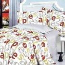 MF01018-3 [Apple Letter] 100% Cotton 4PC Comforter Cover/Duvet Cover Combo (Queen Size)