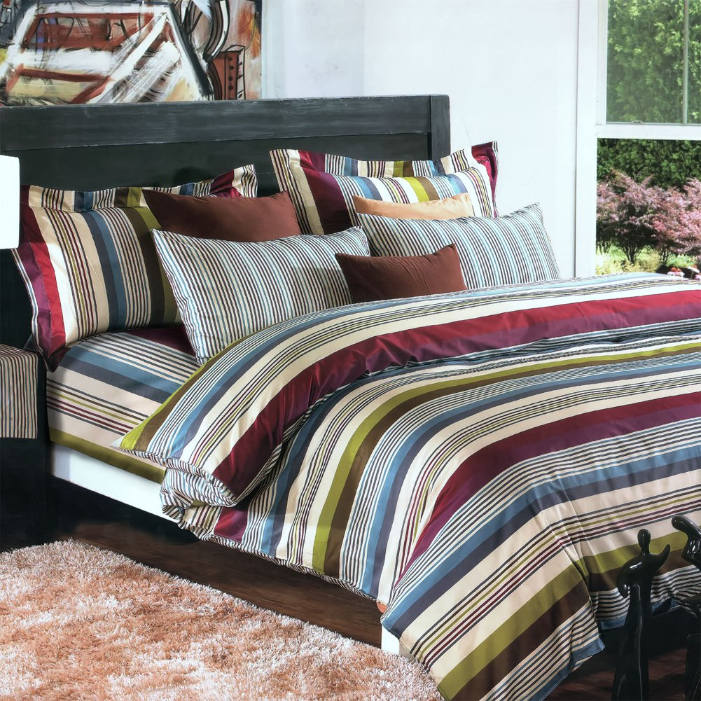 MF01070-1 [Cottage Stripe] 100% Cotton 3PC Comforter Cover/Duvet Cover Combo (Twin Size)