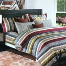 MF01070-3 [Cottage Stripe] 100% Cotton 4PC Comforter Cover/Duvet Cover Combo (Queen Size)