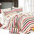 MF01073-3 [Rainbow Dots & Stripe] 100% Cotton 4PC Comforter Cover/Duvet Cover Combo (Queen Size)