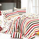 MF01073-4 [Rainbow Dots & Stripe] 100% Cotton 4PC Comforter Cover/Duvet Cover Combo (King Size)